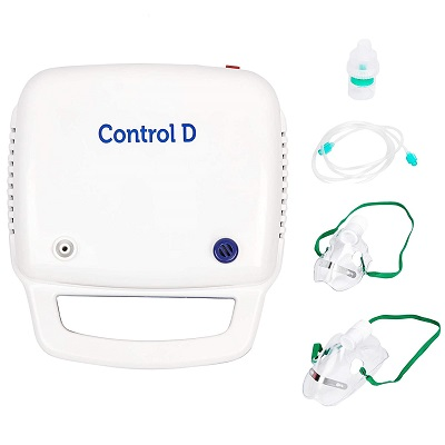 Control D Blue and White Compressor Complete Kit Nebulizer with Child and Adult Masks