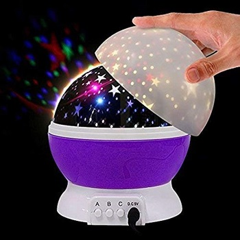 GOSFRID with GF Logo Plastic Glass Rotating 4 Mode Sky Star Master Mini Projector Lamp for baby Room Decor