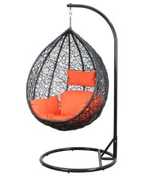 Hanging CHair With Cushion and Stand