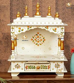Kamdhenu art and craft white Wood Home Temple