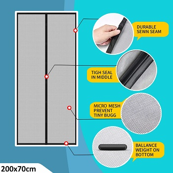 Lifekrafts Polyester Mosquito Screen Curtain for Main Doors Mesh with Magnets