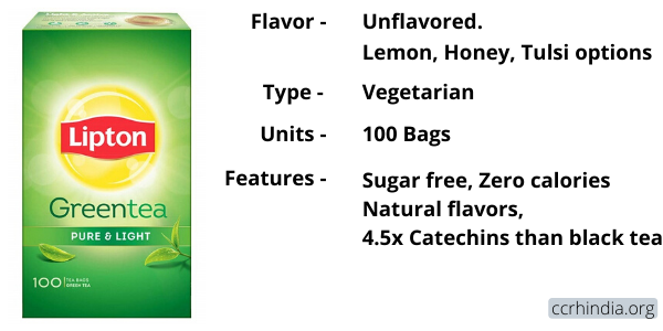 Lipton Pure and Light Green Tea Features