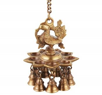 ONVAY Brass Peacock Design Hanging Diya