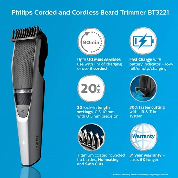Philips BT3221-15 corded and cordless Titanium blade Beard Trimmer