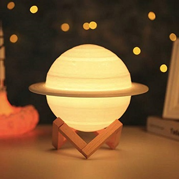 Quace 3D Saturn Lamp 3 Colors Dimmable Rechargeable Night Light for baby room