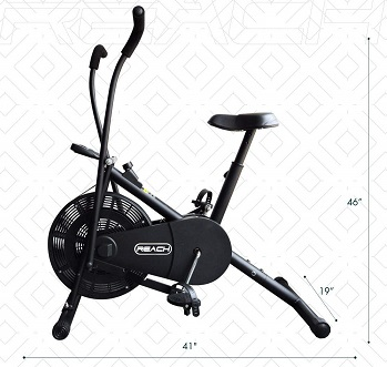 Reach Air Bike Exercise Cycle with Moving Handles and Adjustable Cushioned Seat
