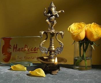 Two Moustaches Brass Dancing Ganesha Oil Diya